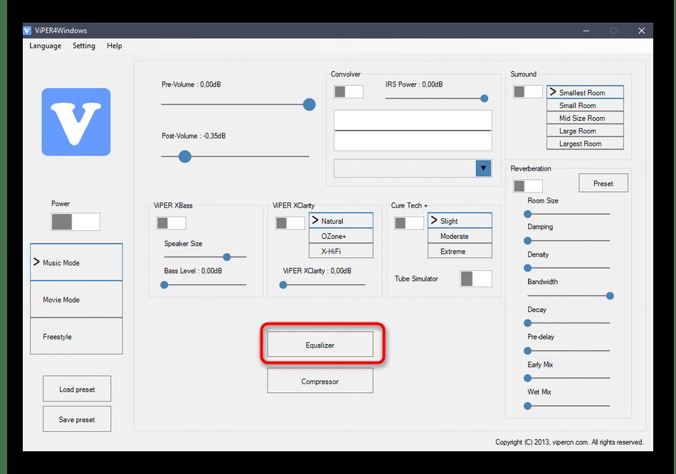 Переход к настройкам эквалайзера в Windows 10 через специальную программу