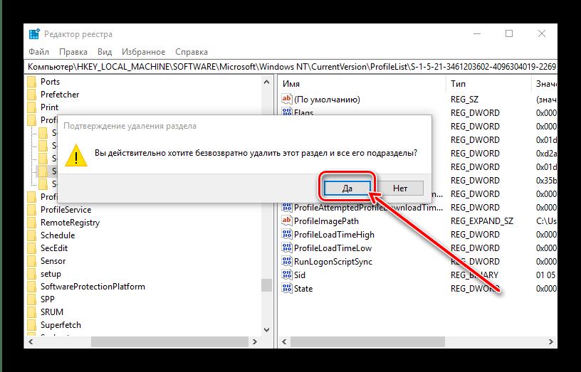 Подтвердить удаление основной и резервной папок для устранения проблемы с временным профилем в windows 10