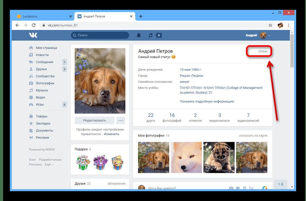 Пример страницы со статусом Онлайн на сайте ВКонтакте