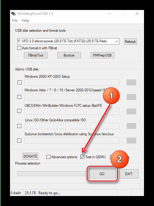 Проверка накопителя в WinSetupFromUSB для создания мультизагрузочной флешки с Windows 10