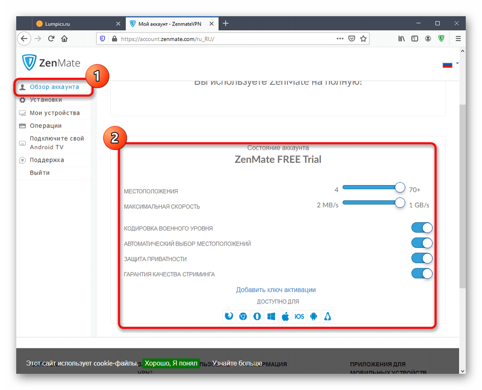 Проверка тарифного плана аккаунта ZenMate в Mozilla Firefox