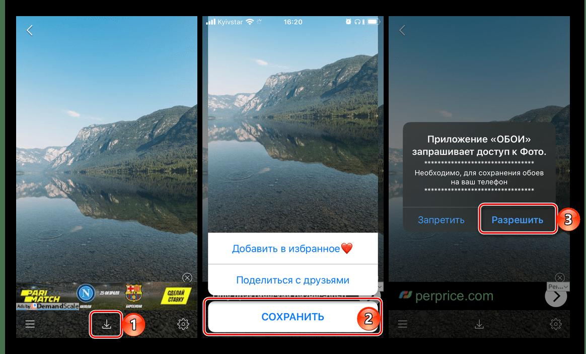 Сохранение найденного изображения в приложении Обои на айфон для iPhone