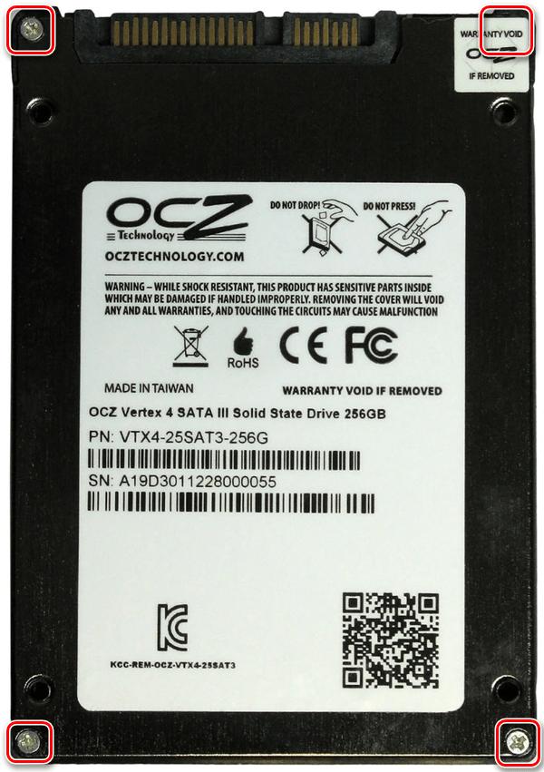 Тыльная сторона SSD OCZ Vertex 4