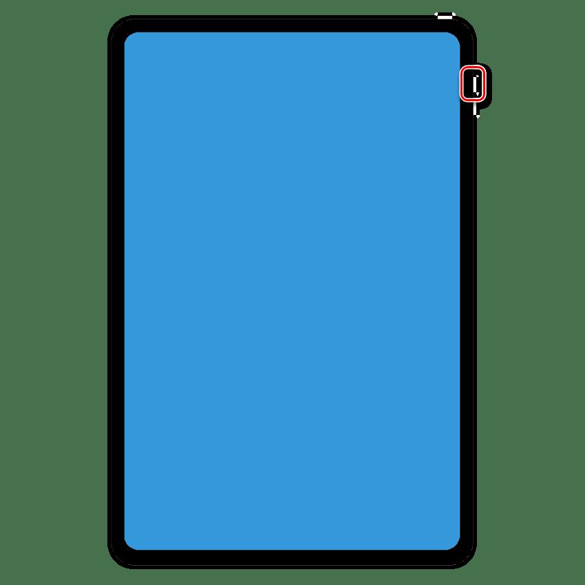 Удерживание кнопки добавления громкости на iPad Pro