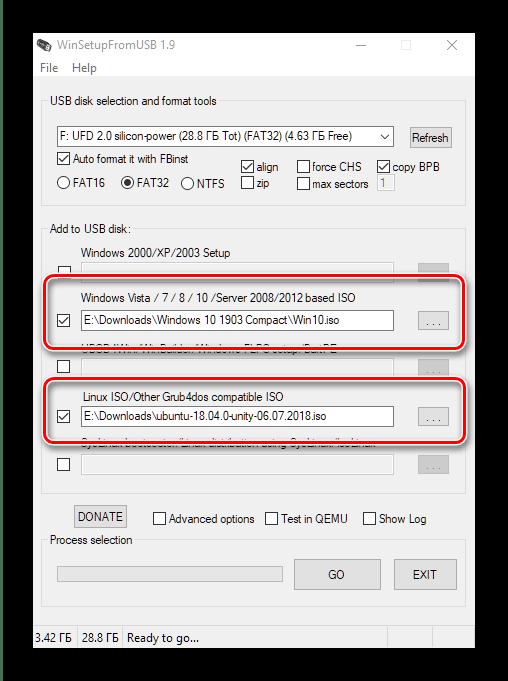 Установка образов примера в WinSetupFromUSB для создания мультизагрузочной флешки с Windows 10