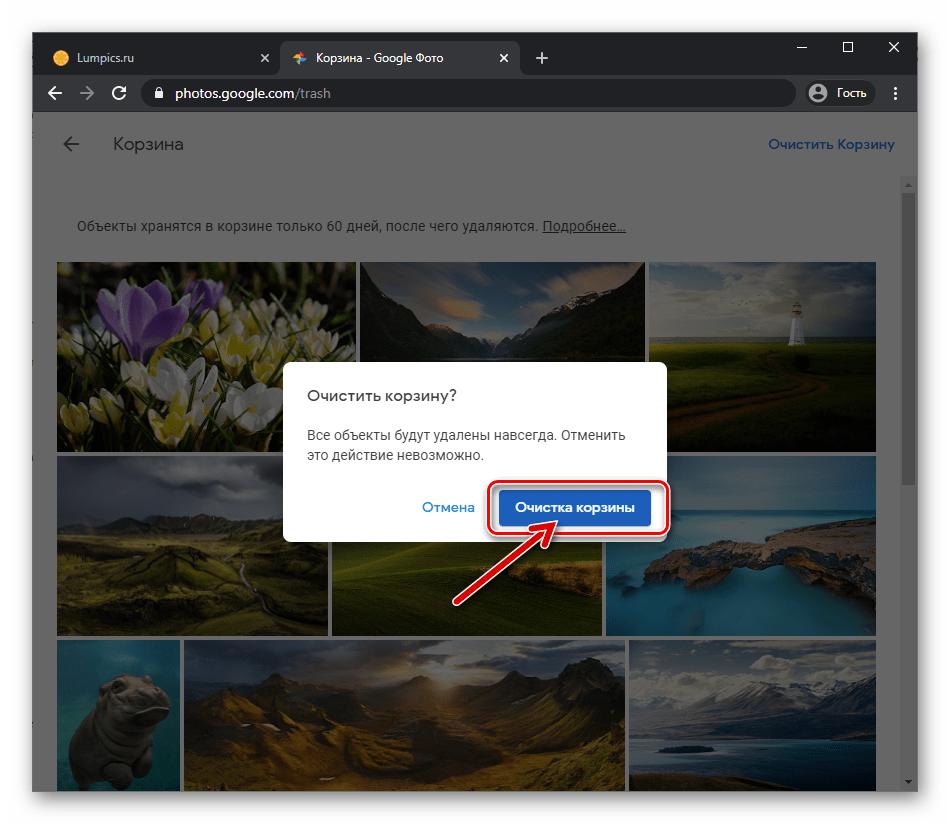 Веб-версия Google Фото подтверждение запроса об удалении объектов из сервиса навсегда
