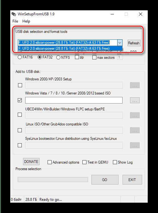 Выбор накопителя в WinSetupFromUSB для создания мультизагрузочной флешки с Windows 10