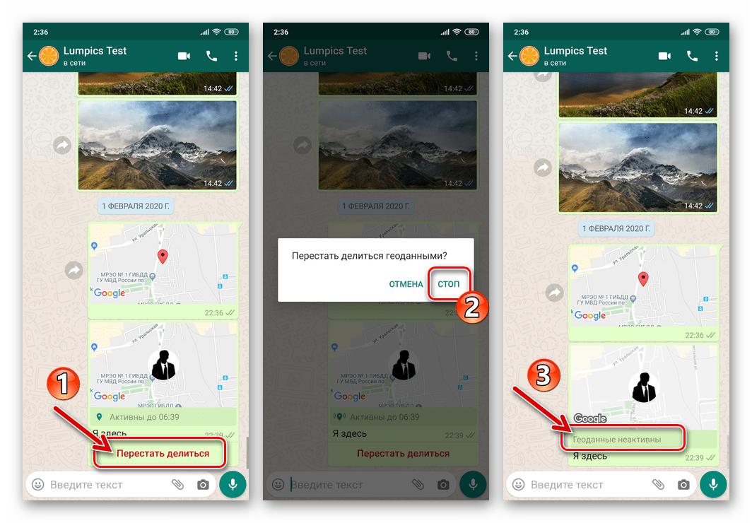 WhatsApp для Android отключение функции Делиться геоданными