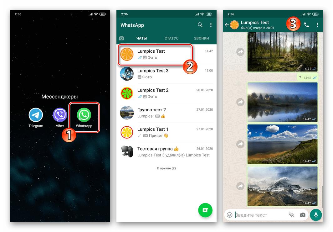 WhatsApp для Android открытие мессенджера и переход в чат для отправки геоданных