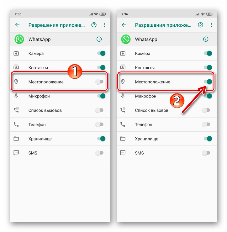 WhatsApp для Android Предоставление мессенджеру доступа к модулю Местоположение