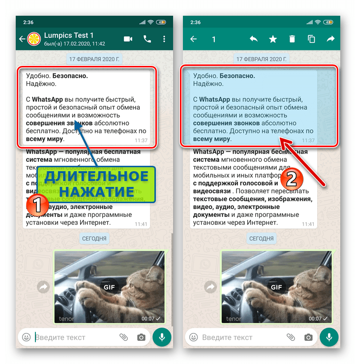 WhatsApp для Android - выделение сообщения в переписке