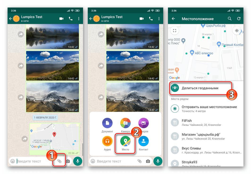 WhatsApp для Android вызов функции Делиться геоданными