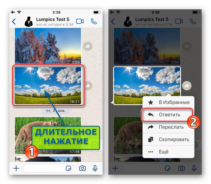 WhatsApp для iOS вызов контекстного меню сообщения в чате - пункт Ответить