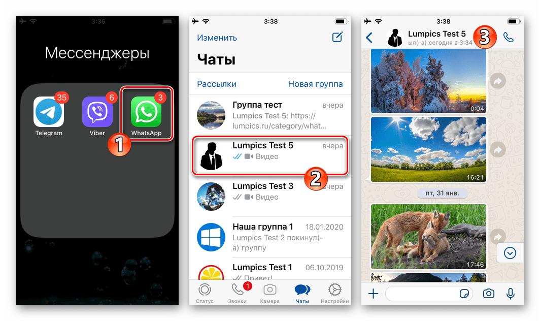 WhatsApp для iOS запуск мессенджера, переход в переписку с сообщением для ответа
