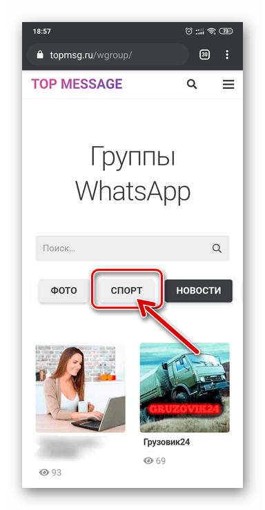 WhatsApp выбор тематики группового чата на сайте-каталоге пабликов в мессенджере