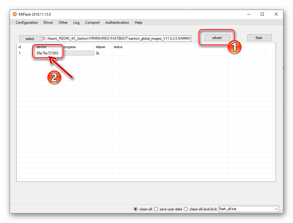 Xiaomi Redmi 4X MiFlash девайс подключен к программе в режиме Fastboot