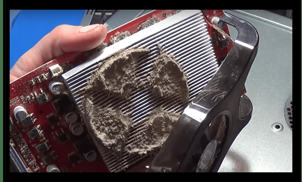 Запылённый радиатор на видеокарте