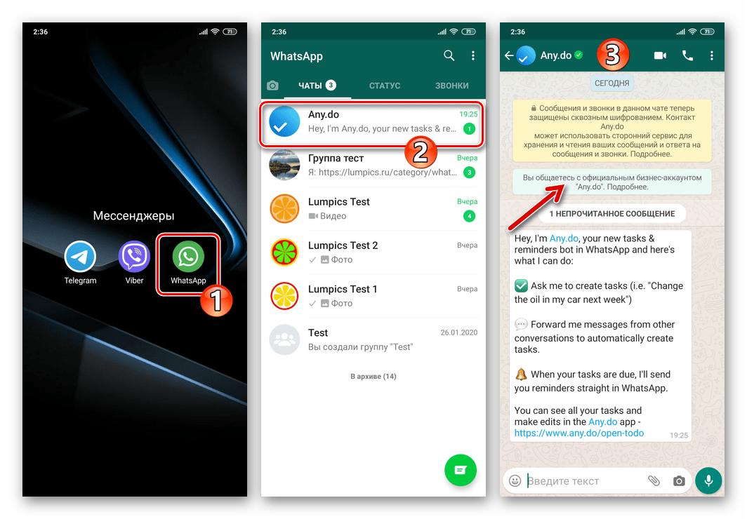 Any.Do - бот сервиса в мессенджере WhatsApp