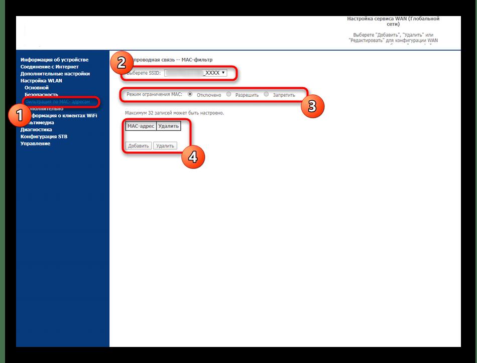 Фильтрация устройств для беспроводной сети маршрутизатора Sagemcom F@st 2804 от МТС