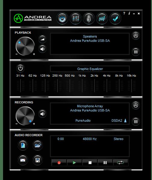 Использование программы Andrea PC Audio Software для подавления шума микрофона