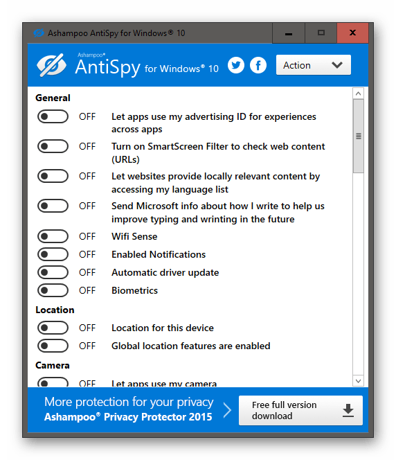 Использование программы Ashampoo AntiSpy для отключения обновлений Windows 10