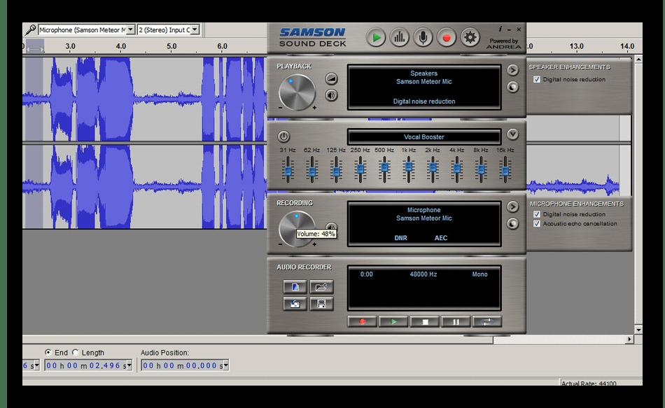 Использование программы Samson Sound Deck для подавления шумов микрофона