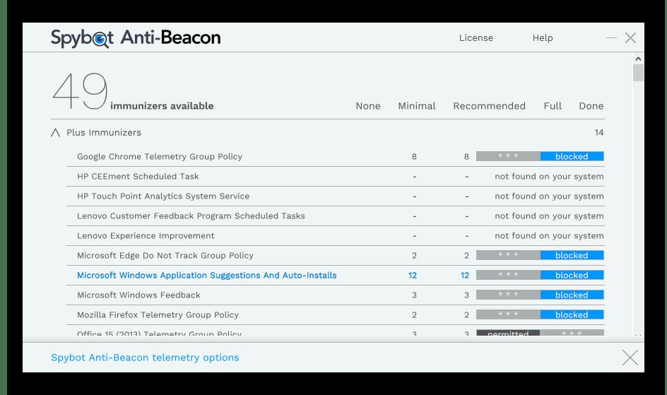 Использование программы Spybot Anti-Beacon для отключения обновлений Windows 10