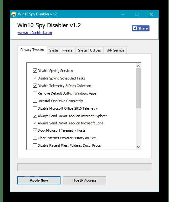 Использование программы Win10 Spy Disabler для отключения обновлений Windows 10