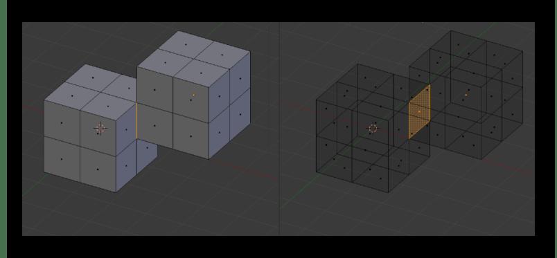Наложение объектов друг на друга в программе Blender