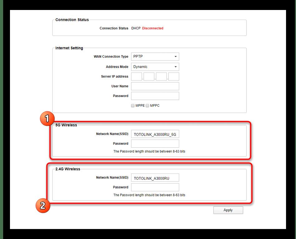 Настройка беспроводной точки доступа при быстром конфигурировании роутера Totolink A3000RU