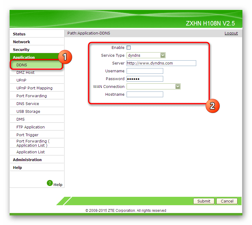 Настройка динамического DNS через веб-интерфейс роутера ZTE
