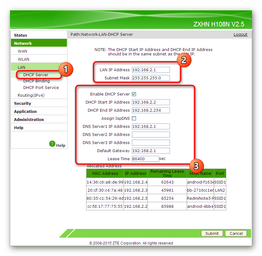 Настройка параметров локальной сети при конфигурации роутера ZTE