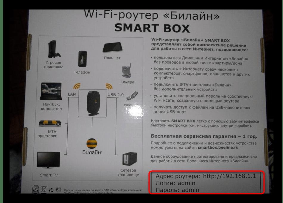 Определение логина и пароля для роутера через информацию на коробке
