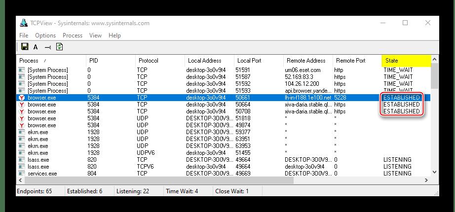 Отображение используемых портов в TCPView