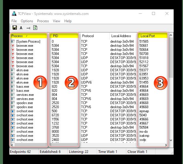 Отображение процессов, ID и портов с помощью TCPView