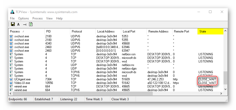 Отображение закрывающихся портов в TCPView