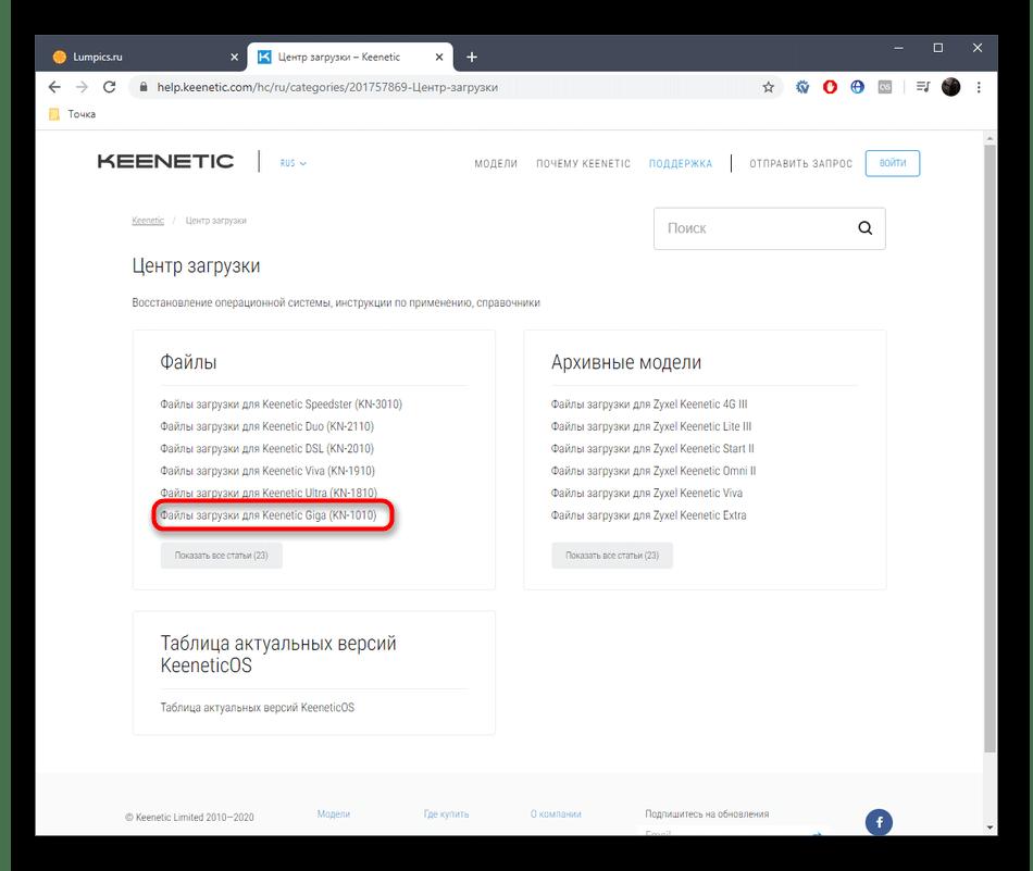 Переход к просмотру списка файлов для Zyxel Keenetic Giga на официальном сайте