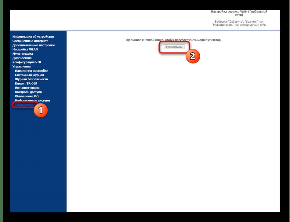Перезагрузка роутера Sagemcom F@st 2804 от МТС после внесения изменений