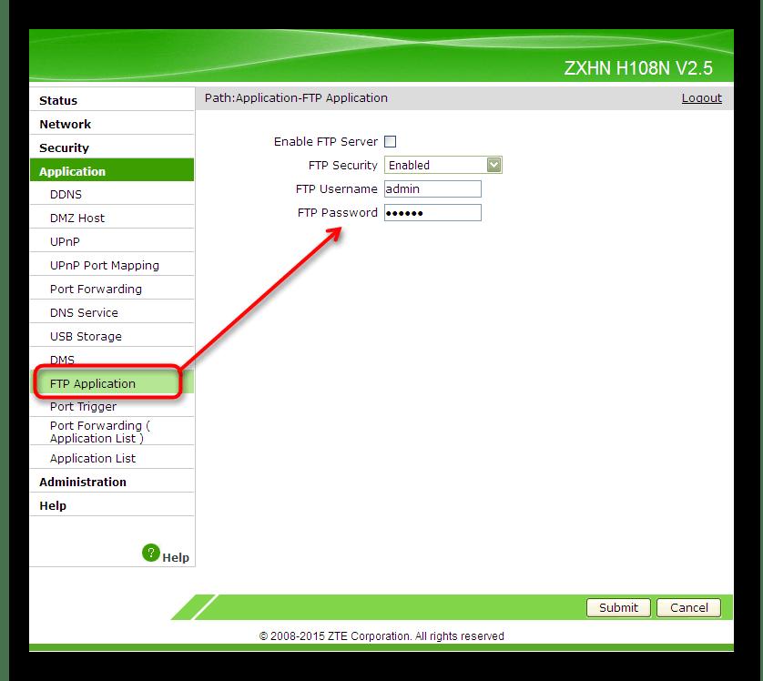 Подключение FTP-сервера в веб-интерфейсе роутера ZTE