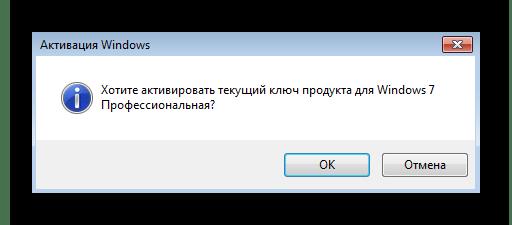 Подтверждение активации Windows 7 стандартным способом