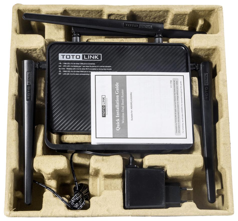 Распаковка роутера Totolink A3000RU перед настройкой