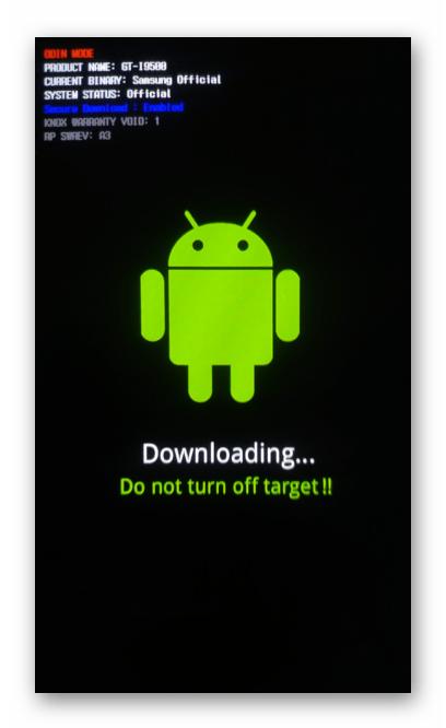 Samsung Galaxy S4 GT-I9500 переключение смартфона переведен в режим Odin-режим