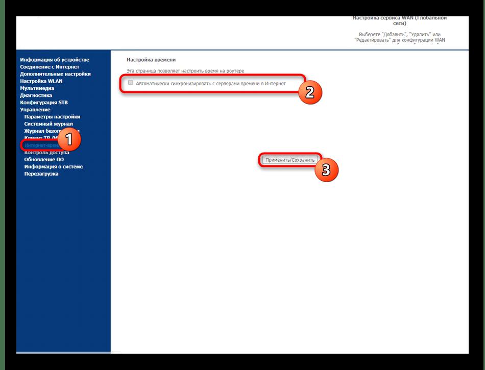 Синхронизация с сетевым временем через веб-интерфейс Sagemcom F@st 2804 от МТС