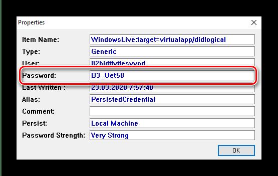 Свойства RDP-файла в Network Password Recovery для получения пароля удалённого доступа в Windows 10
