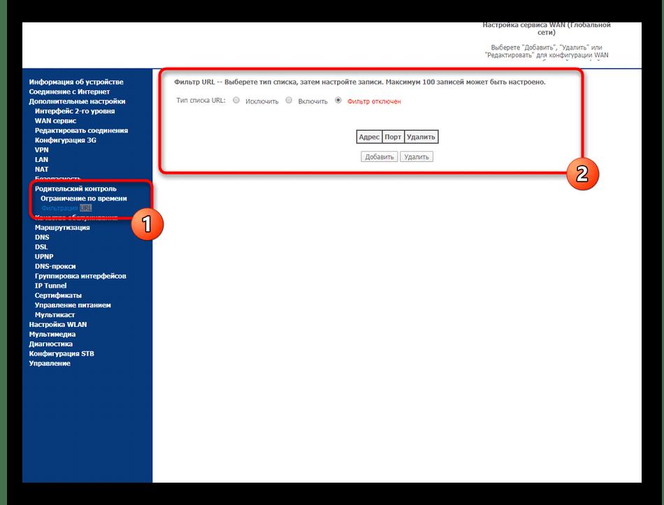 Включение родительского контроля через веб-интерфейс Sagemcom F@st 2804 от МТС
