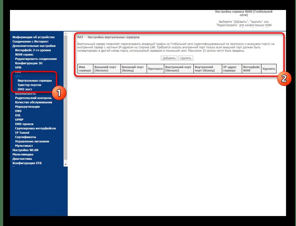 Включение виртуальных подключений в веб-интерфейсе роутера Sagemcom F@st 2804 от МТС