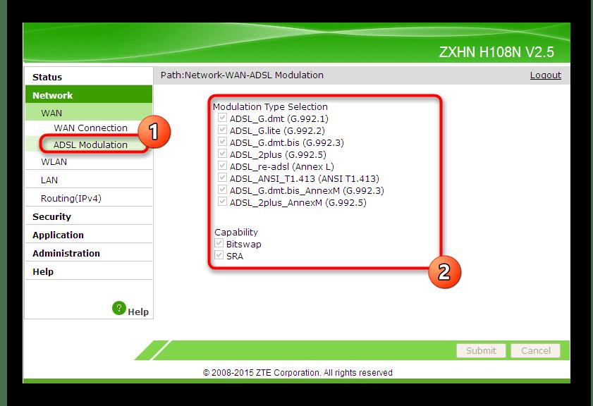 Выбор настроек для второго типа подключения по проводу в веб-интерфейсе роутера ZTE