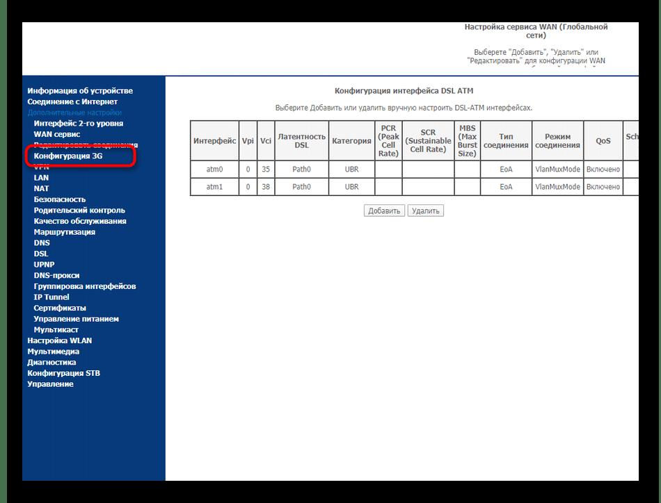 Выбор настроек режима модема в веб-интерфейсе роутера Sagemcom F@st 2804