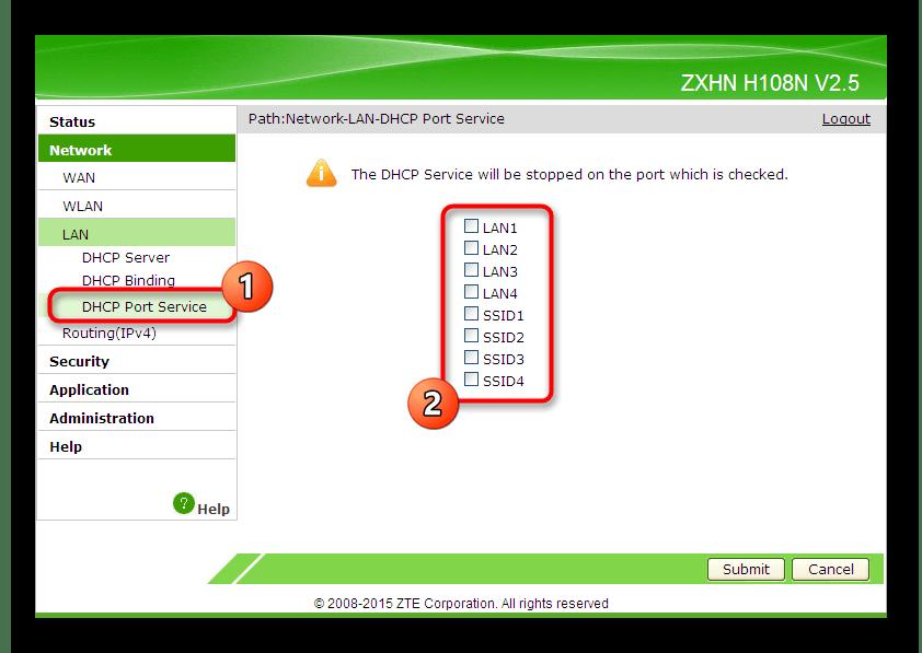 Выбор параметров локальной сети для конкретных портов роутера ZTE