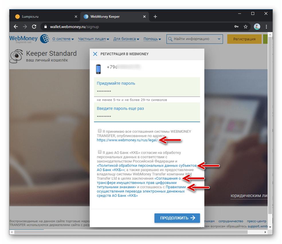 WebMoney просмотр условий и политик использования системы при регистрации в ней через сайт